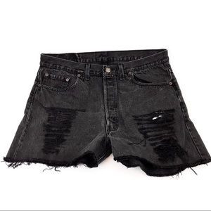 LEVI 501 Vintage Buttonfly Distressed Shorts